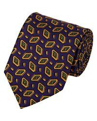Drake's Purple Diamond Medallion Faille Necktie for men
