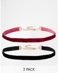 ASOS | Red Pack Of 2 Velvet Choker Necklaces | Lyst