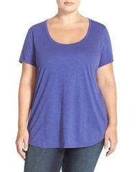 Eileen Fisher | Purple Scoop-Neck Organic-Cotton T-Shirt | Lyst