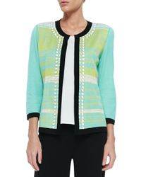Misook - Black Beaded 3/4-Sleeve Jacket W/ Tipping - Lyst