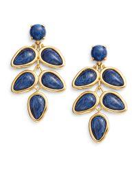 Lele Sadoughi | Blue Tropicana Havana Howlite, Marble & 14k Goldplated Palm Leaf Drop Earrings | Lyst