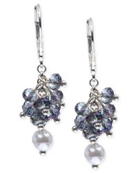 Anne Klein - Silver-tone Blue Bead And Imitation Pearl Shaky Drop Earrings - Lyst