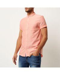 River Island | Orange Waffle Short Sleeve Shirt for Men | Lyst