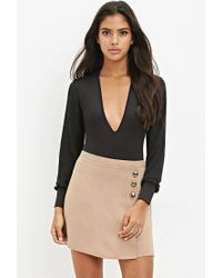 Forever 21 - Natural Buttoned Faux Wrap Skirt - Lyst
