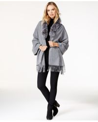 Surell | Gray Fox Fur Collar Fringe Cape | Lyst