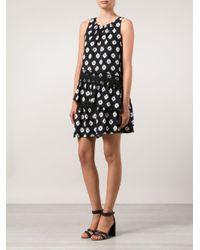 Thakoon Black Monochrome Silk Pleated Dress