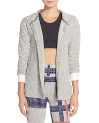 Alternative Apparel | Gray Hooded Open Front Boucle Cardigan | Lyst