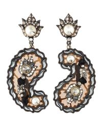 Lanvin - Black Crystal Paisley Drop Earrings - Lyst