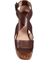 Miu Miu - Brown Studded Platform Sandal - Lyst