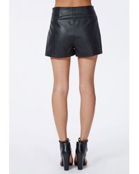 Missguided Amira High Waist Faux Leather Shorts Black