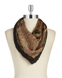 Lauren by Ralph Lauren | Black Square Silk Scarf | Lyst