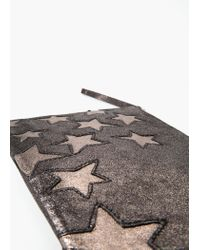 Mango - Black Stars Leather Clutch - Lyst