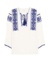 Étoile Isabel Marant Blue Vince Embroidered Cotton Blouse