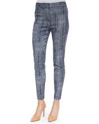 Lela Rose Blue Crosshatch-print Straight-leg Pants
