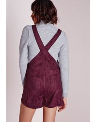 Missguided - Purple Suedette Dungaree Playsuit Berry - Lyst