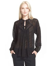 Rebecca Taylor - Black Coupe Silk Blend Peasant Top - Lyst