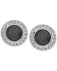 ABS By Allen Schwartz - Metallic Silver-Tone Black Glitter Round Stud Earrings - Lyst