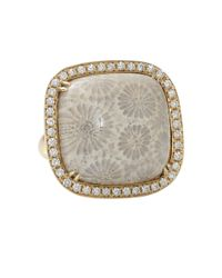 Pamela Huizenga - Pink Agatized Coral Square Ring - Lyst