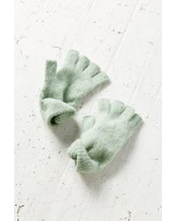 Urban Outfitters Green Brushed Fuzzy Fingerless Gloves