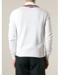 Moncler Gamme Bleu | White Tricolour Trim Cardigan for Men | Lyst