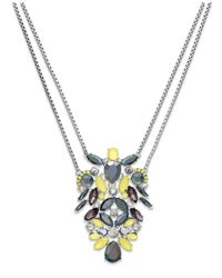 INC International Concepts | Silver-tone Yellow Stone Two-row Pendant Necklace | Lyst