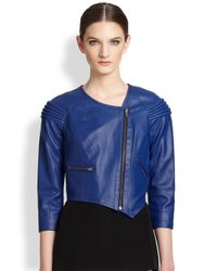 Cut25 by Yigal Azrouël | Blue Asymmetrical Leather Moto Jacket | Lyst