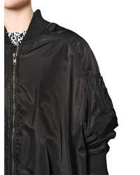 KTZ Black Oversized Nylon Bomber Jacket