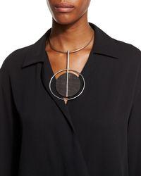 Pink Pony | Metallic Round Wood Pendant Necklace | Lyst