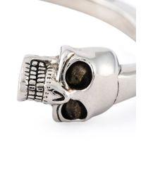 Alexander McQueen - Metallic Double Skull Bangle for Men - Lyst