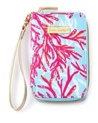 Lilly Pulitzer Multicolor Coral-print Tiki Palm Iphone 6 Wristlet