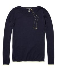 Maison Scotch Blue Stripe Trim Jumper