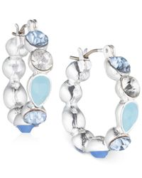 Nine West - Metallic Silver-tone Blue Crystal Hoop Earrings - Lyst