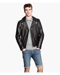 H&M Black Leather Biker Jacket for men