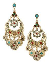 R.j. Graziano Metallic Crystal Beaded Floral Chandelier Earrings