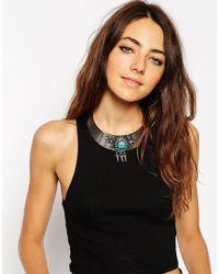 ASOS Blue Stone & Spike Torque Necklace