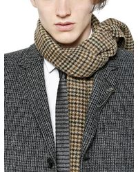 Saint Laurent Brown Check Wool Jacquard Scarf for men