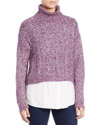 Kensie | Purple Mixed-media Turtleneck Sweater | Lyst