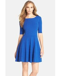 Eliza J | Blue Fit & Flare Sweater Dress | Lyst