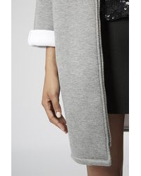 TOPSHOP Gray Bonded Jersey Duster Jacket