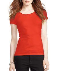 Lauren by Ralph Lauren | Orange Stretch Scoopneck T-Shirt | Lyst