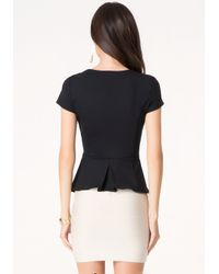 Bebe | Black Cascade Neck Peplum Top | Lyst