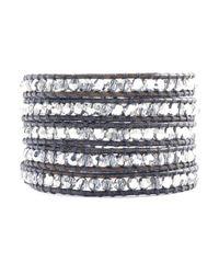 Chan Luu - Metallic Crystal Cal Wrap Bracelet On Natural Grey Leather - Lyst