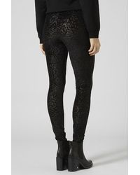 TOPSHOP Black Floral Glitter Burnout Leggings