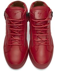 Giuseppe Zanotti | Red Leather Mid-top London Sneakers for Men | Lyst