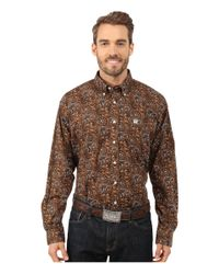 Cinch Brown Long Sleeve Plain Weave Print Shirt for men