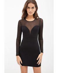 Forever 21 - Black Textured Mesh-paneled Dress - Lyst