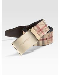 Burberry | Natural Sloane Checked Belt for Men | Lyst