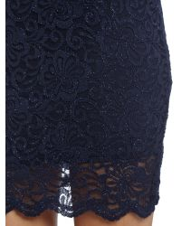 Lipsy Blue Sleeveless V Neck Lace Sequin Bodycon Dress