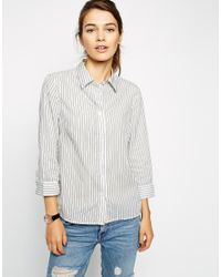 ASOS - Blue 3/4 Sleeve Shirt In Navy And White Stripe - Lyst
