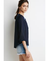 Forever 21 - Blue Floral Embroidered Peasant Top - Lyst